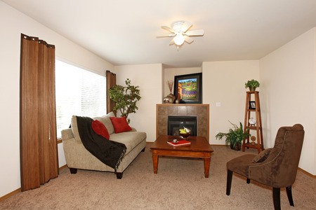 Light walls furnished living room with a fireplace and brown carpet floor. photo