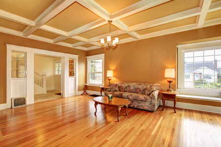 Living room with a coffered ceiling and hardwood floor. Furnished with an antique sofa, coffee table. View of the hallway photo