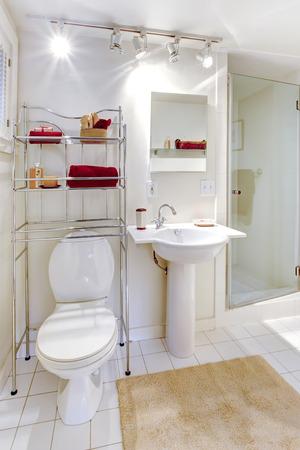 bathroom design: Bright white bathroom with metal mobile shelf storage unit Stock Photo