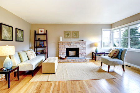 classic living room: Bright living room with a hardwood floor and rocky background fireplace. Furnished with classic sofa and chair, table and bookshelf