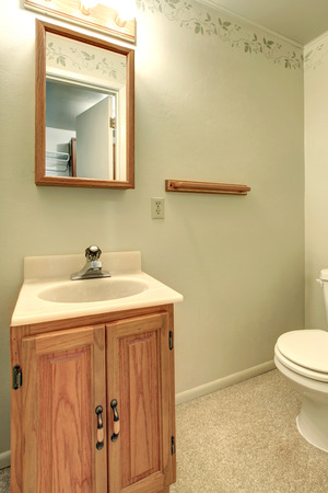 Light green bathroom with a beige carpet floor. View of the wooden washbasin cabinet and mirror. photo