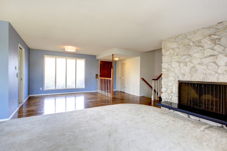 Refreshing empty living room with blue walls and carpet floor. View of the entrance hallway with hardwood floor photo
