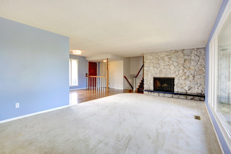 Refreshing empty living room with light blue walls, carpet floor and rocky background fireplace. View of the entrance hallway photo