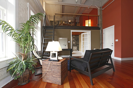 View of modern reconstructed living room with mezzanine. Close up view of Furnished area and palm tree photo