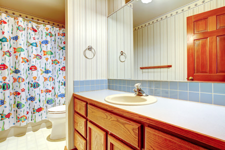 Bathroom wooden cabinet with mirror  View of happy fish curtain and toilet on the background photo
