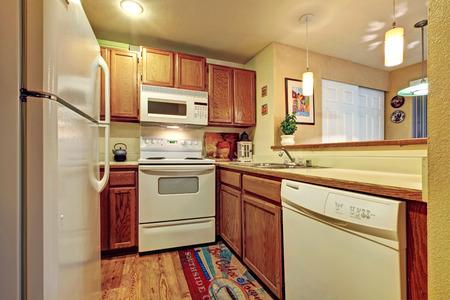 Muebles De Cocina Con Electrodomésticos Negros Y El Ajuste Blanco De ...
