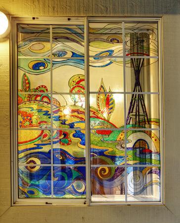 Window with acryl paintings on it  Windows treatment ideas photo