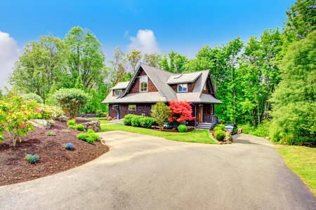 Clapbord siding brown house with green lawn and amazing blooming trees  View from the driveway photo