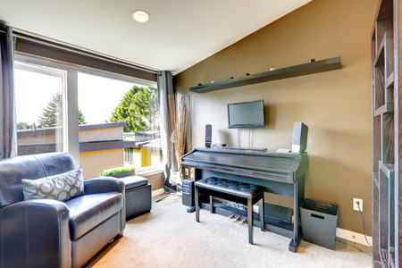 Bright room with vaulted ceiling and wide window  Room has piano, leather chair, ottaman and guitar photo