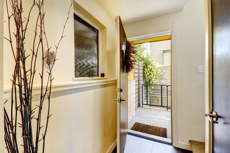 Ivory small hallway with dry branch.  View of the open door to entrance deck photo