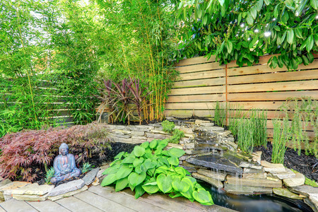 back yard pond: Green landscape with stone waterfall and small pond . View of exotic plants and buddha statue