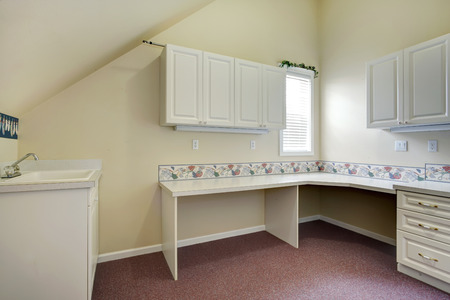 Vaulted ceilings laundry room with cabinets and washbasin cabinet Stock Photo - 27498997