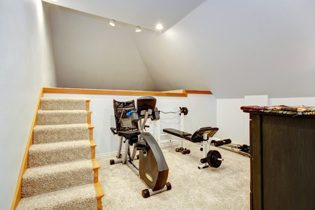 home gym: Small home gym with two exercise equipments and stairs