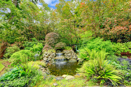 back yard pond: Landscape idea. Small man made pond with waterfall and two decorative birds Stock Photo
