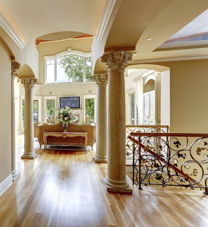 Beautiful luxury hallway with columns. View of living room and wrought railings. photo