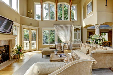 living room sofa: Impressive high ceiling living room with tv, fireplace and antique furniture
