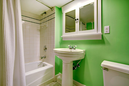 Green bathroom with white washbasin stand, toilet and bath tub  Room has built-in cabinet with mirror doors photo