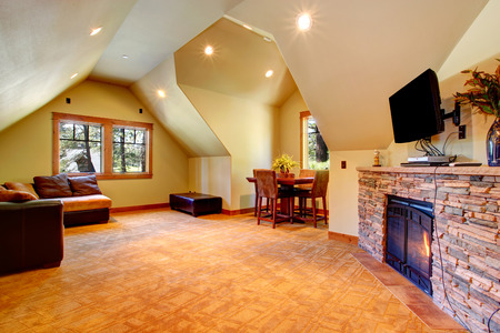 stone fireplace: Spacious room with vaulted ceiling  View of stone background fireplace with tv, coach and table set next to window