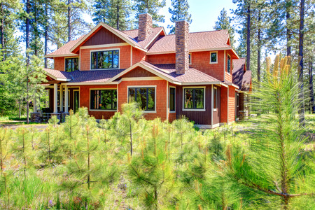 house siding: Beautiful brown and orange house. Vibrant colors stand out the green landscape