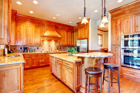 back kitchen: Beautiful kitchen with gold cabinets and steel appliances  Tile back splash trim complete with rich look