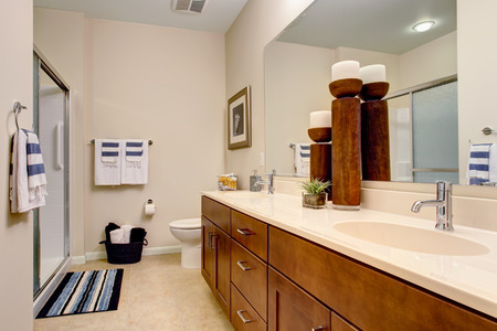 bathroom design: Soft bathroom with brown and white vanity decorated with candles and plant