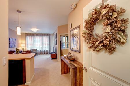 Open floor plan in modern apartment  Open entrance door Stock Photo - 28082899