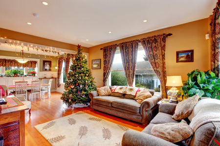 living room interior: Cozy house interior on Christmas eve. View of living room with Christmas tree and dining area