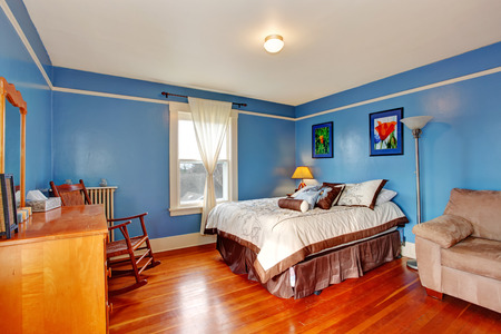 Bedroom with blue walls and hardwood floor photo