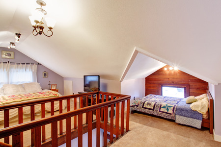 vaulted: Bedroom with vaulted ceiling and carpet floor