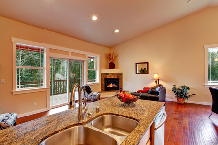 House with high vaulted ceiling  View of living room with fireplace and walkout deck from kitchen area photo