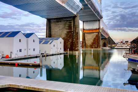 tacoma: Water homes and bridge in Tacoma, Washington State  Downtown