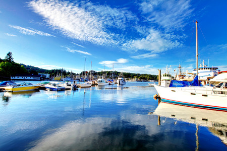 gig harbor: View of the bay with boats in Gig Harbor, Washington state