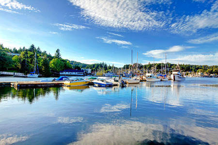 tacoma: View of the bay with boats in Tacoma, Washington state Stock Photo