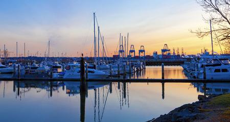 tacoma: Port cranes in Tacoma port with boats  Stock Photo