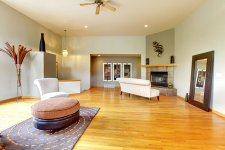 hardwood: Fantastic modern living room home interior. Huge green bright room with modern furniture.