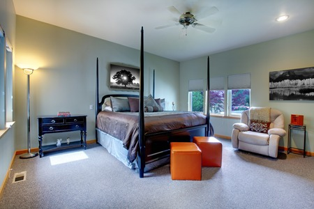 Large bedroom with five windows and black post bed with brown bedding  Modern and classic comfortable design  photo