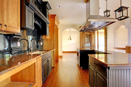 remodeled: New construction luxury home interior  Kitchen with beautiful details  Stock Photo