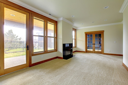remodeled: Empty large room with fireplace  New luxury home interior