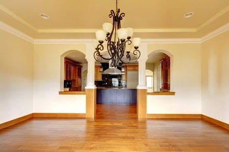 Large luxury dining room interior with kitchen and arch  New empty home  photo