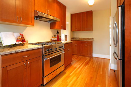 granite kitchen: New cherry kitchen with grey granite and stainless steal appliances