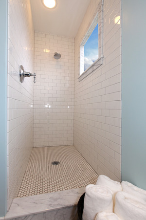 New beautiful bathroom in a small cute old house in Tacoma, WA photo