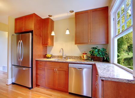 stainless steal: New cherry kitchen with grey granite and stainless steal appliances