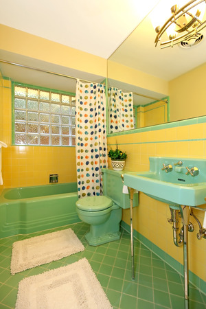 Rare lime green and yellow antique bathroom design. photo