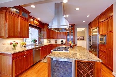 Weelderig keuken interieur. Uitzicht op opslag combinatie, kookeiland en inbouwapparatuur