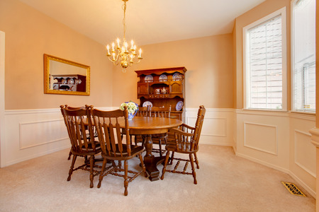 Soft Colors Dining Room With Carpet Floor Rustic Table Stock Photo Picture And Royalty Free Image 28620520