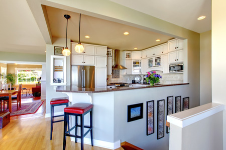 Remodeled upscale house design. View of kitchen area photo