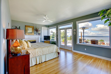 Large blue bedroomwith walkout deck and fireplace photo