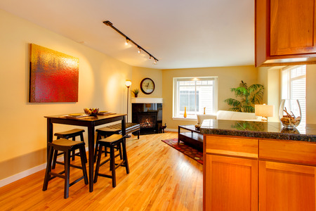 designer chair: Kitchen room with dining area Stock Photo