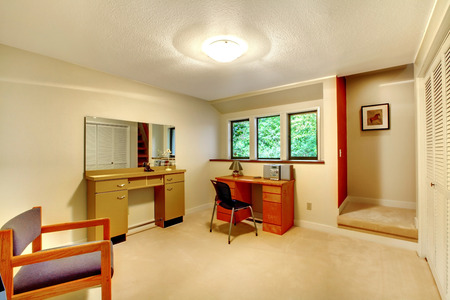 furnished: Office room furnished with desk, cabinet with mirror and chair