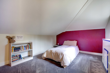 Velux bedroom with white and burgundy walls, lavender carpet floor  Furnished with single bed and bookshelf photo